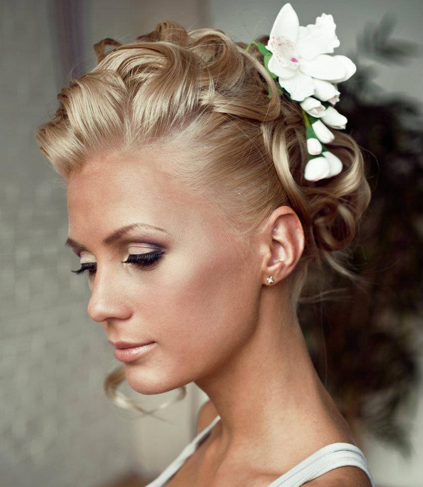 42 blonde curly updo