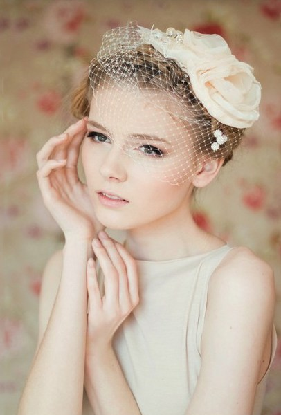 43 hairstyle with birdcage veil