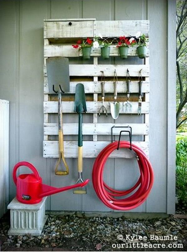 44 DIY Pallet Gardening Tool Organizer