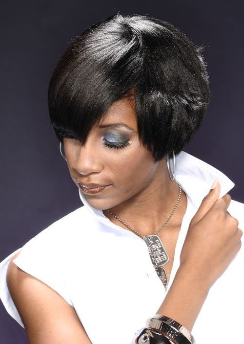 46 jet black short hairstyle with bang