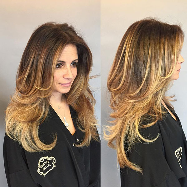 49 golden blonde balayage for long layered hair