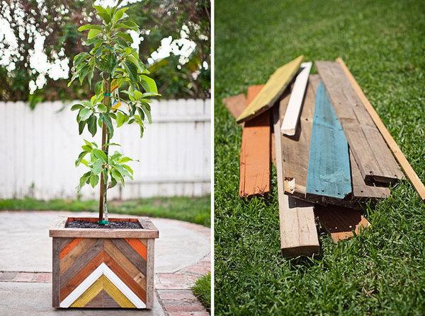 5  Chevron Wood Plant Box