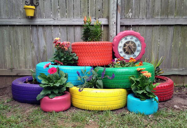 5 Painted Tire Planters
