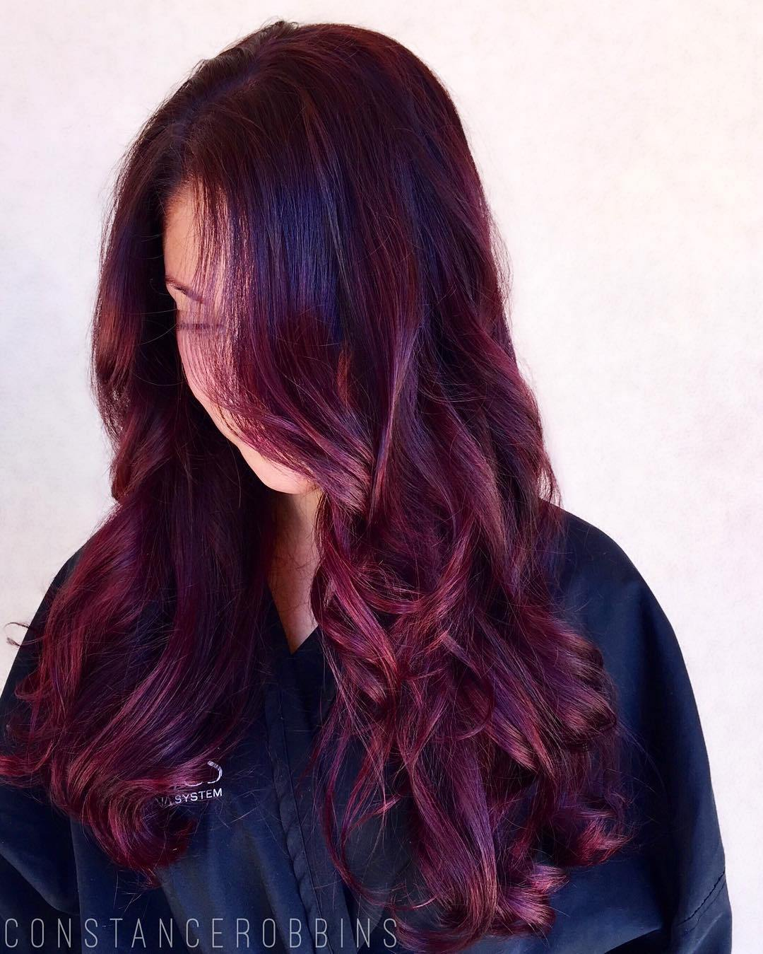 Fashion week Purple red dark hair photo for woman