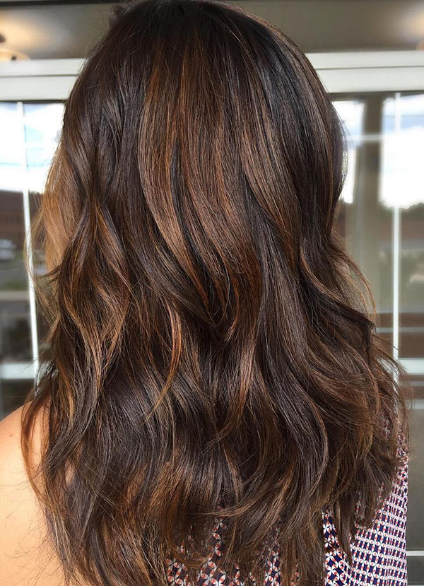 5 dark brown hair with light brown highlights