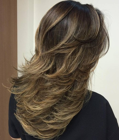 52 brunette layered ombre balayage hairstyle