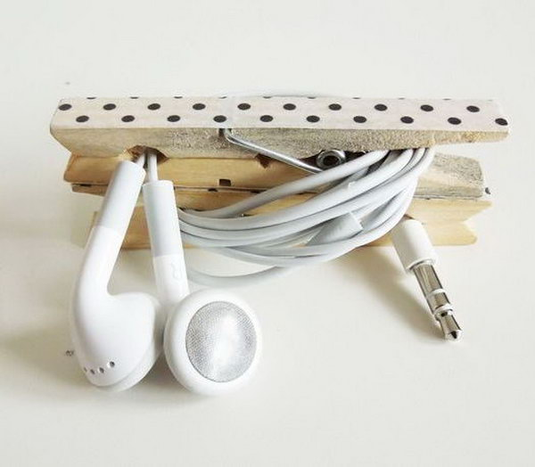 6 Clothespin Cord Holder