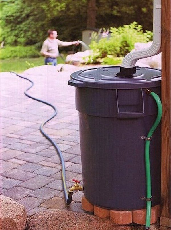 6 Make Your Own Rain Barrel to Water the Garden with out of a Heavy Duty Trash Can