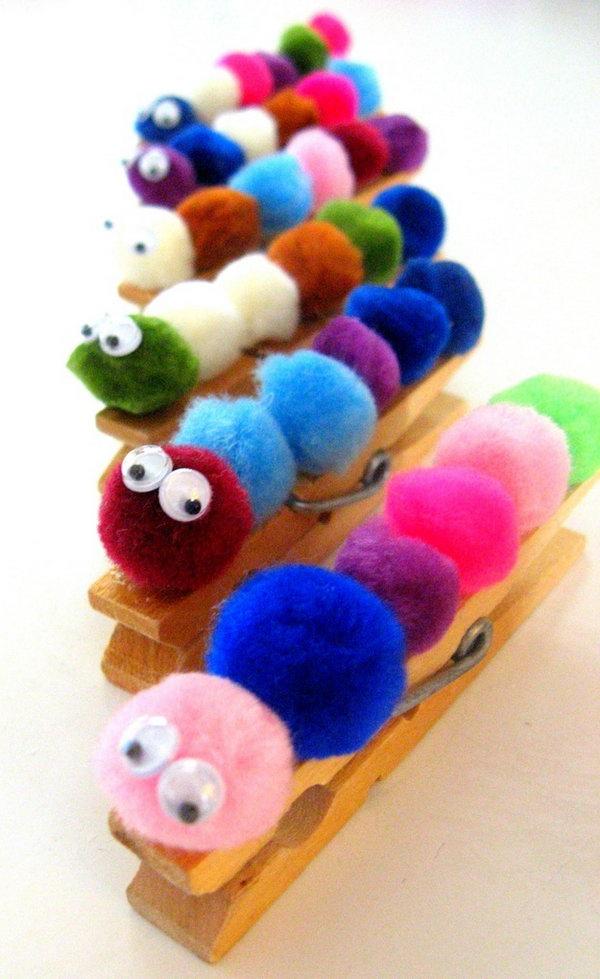 6 Pom Pom Caterpillar Magnets