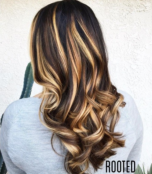 6 black hair with brown and blonde balayage