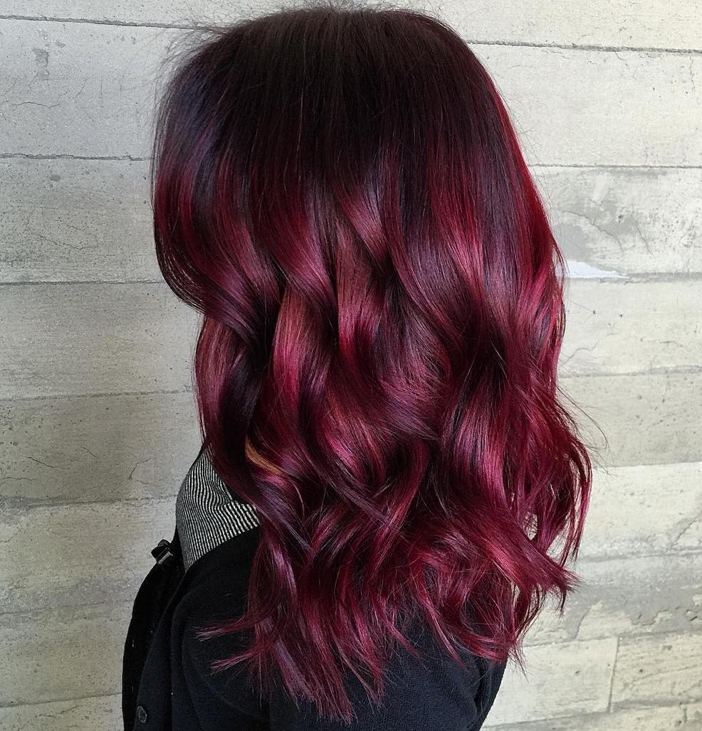 6 bright burgundy balayage hair