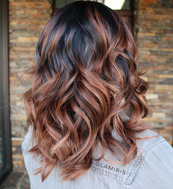 6 brown wavy hair with black roots