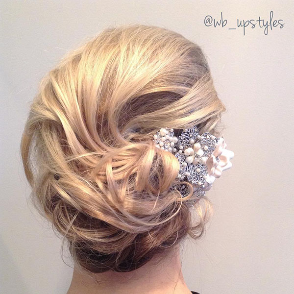 6 curly messy wedding updo