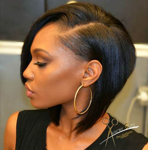 6 side parted black bob hairstyle