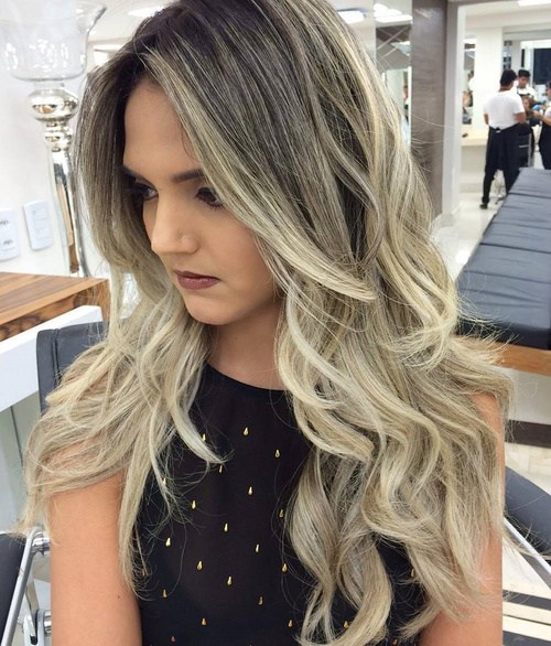 62 black to blonde long layered ombre hair