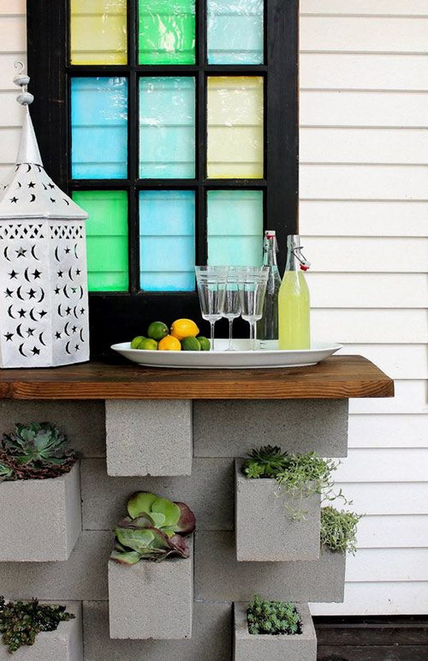 7 Cinder Block Planters and Outdoor Bar