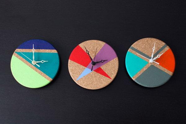7 Cork Trivet Clocks