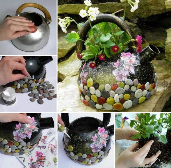 7 DIY Recycled Kettle Planter