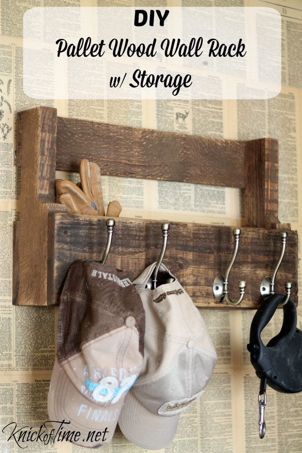 7 Pallet Wood Wall Rack for Coats Hats and Storage