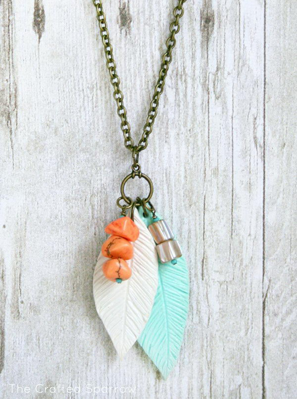 7 Polymer Clay Feather Necklace