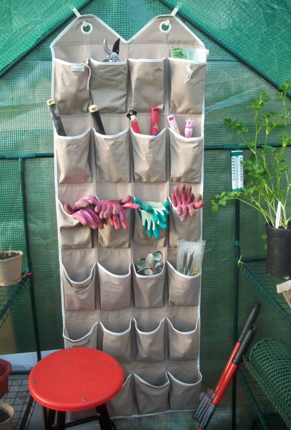 7 Reuse an Old Shoe Organizer to Store Small Gardening Tools & Accessories