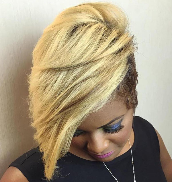7 black and blonde short asymmetrical haircut