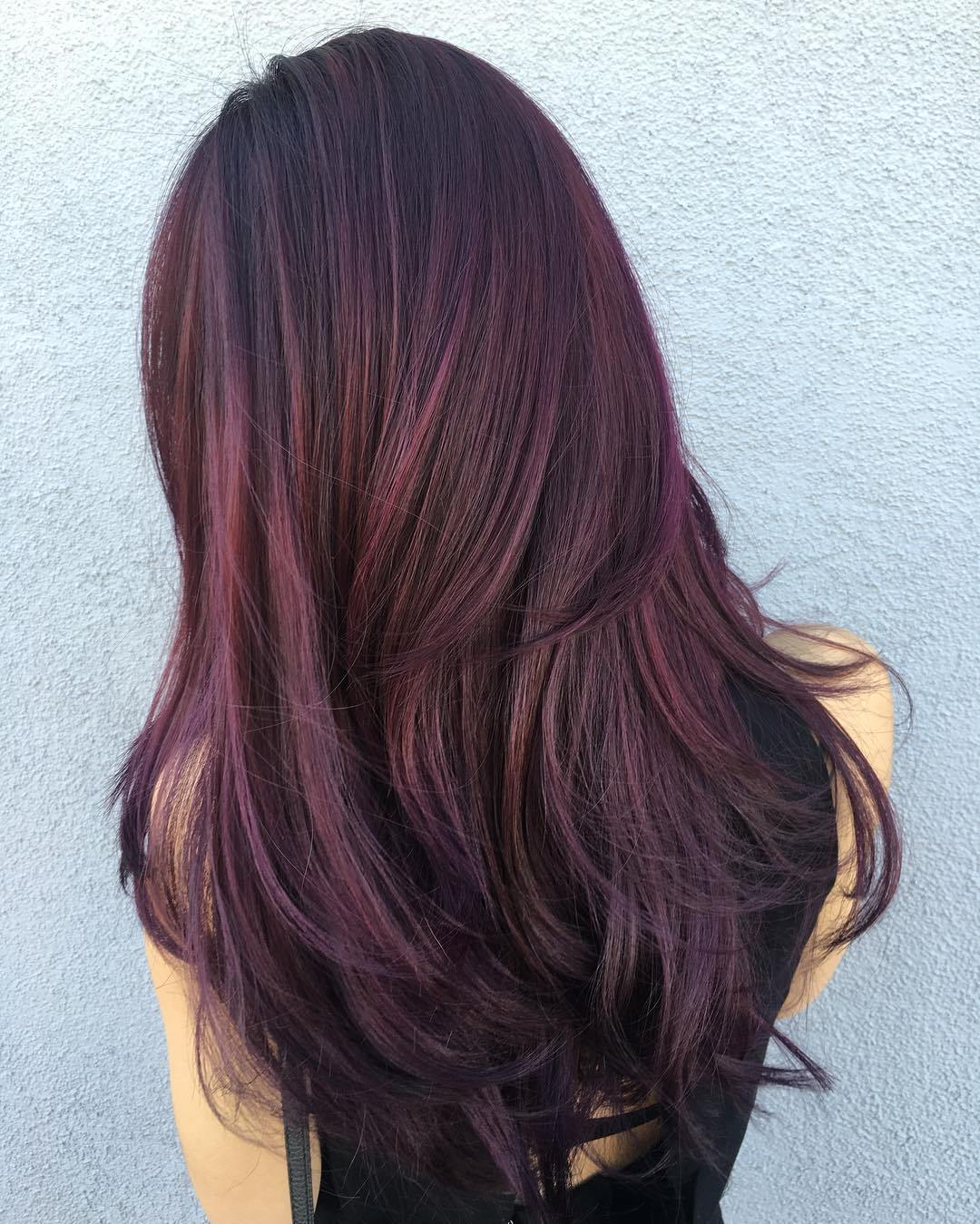 7 black hair with purple and brown balayage