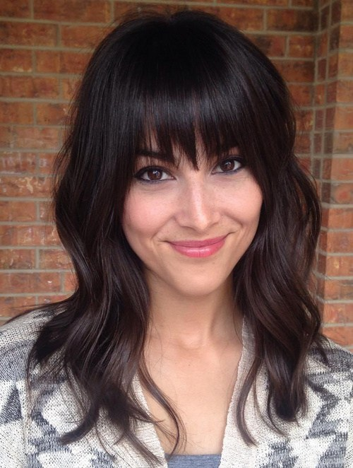 74 medium layered haircut with straight bangs