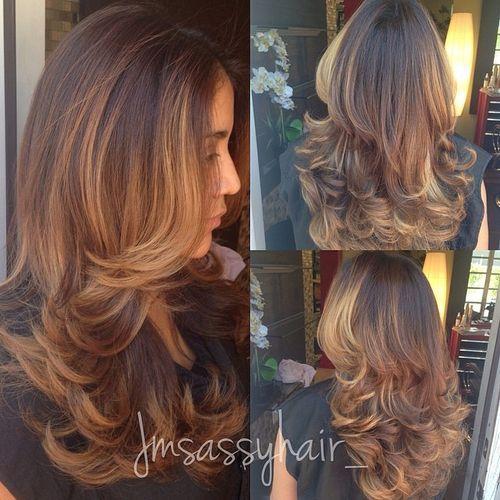 77 long layered hairstyle with balayage highlights