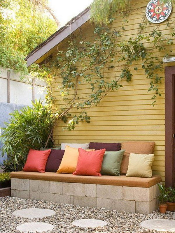 8 Concrete Block Garden Bench