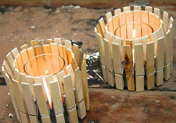 8 DIY Clothespin Candle Holder
