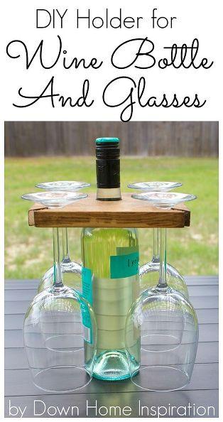 8 DIY Holder for a Wine Bottle and Glasses