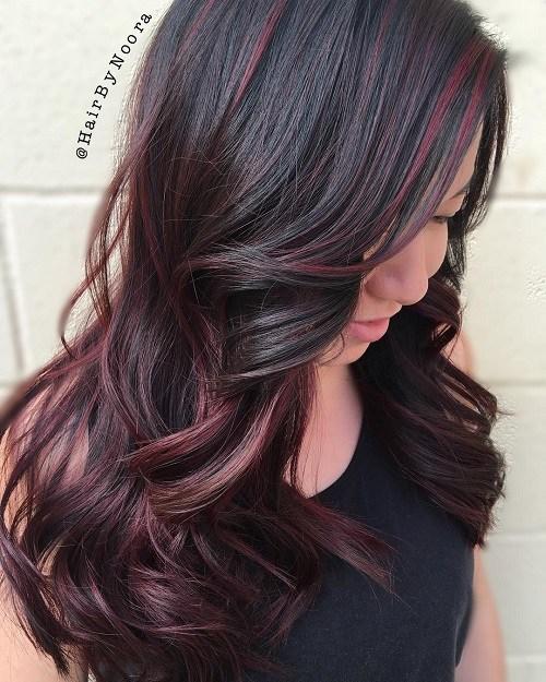 8 burgundy balayage for dark brown hair