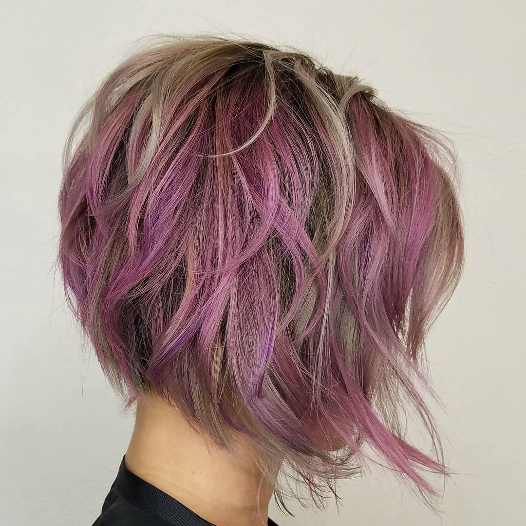 8 pastel purple layered bob