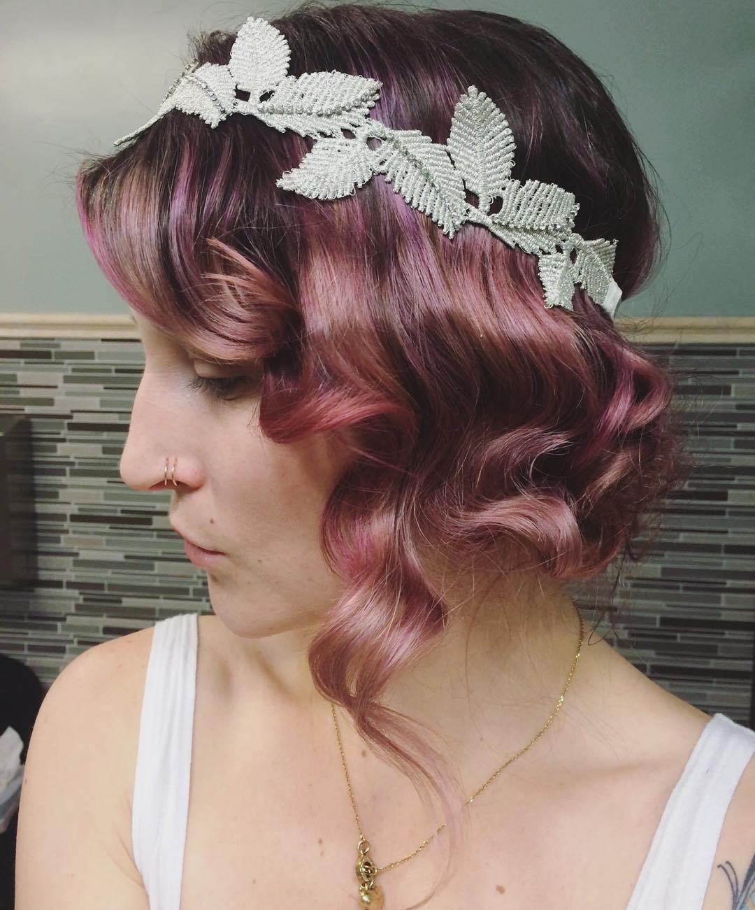 8 rosewood curly vintage updo