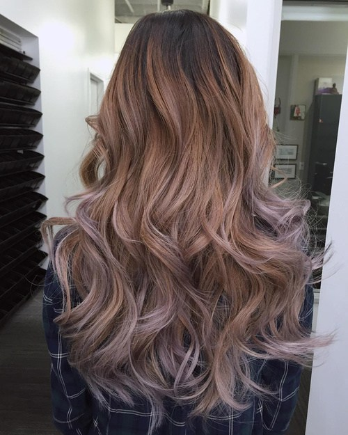80 layered hairstyle with caramel to ash brown ombre