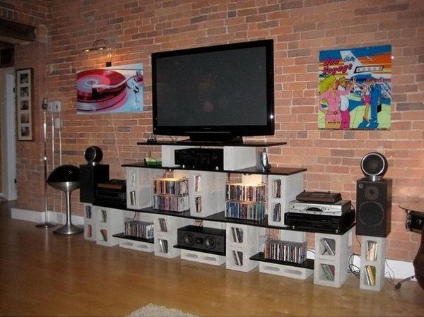 9 Concrete Block TV Unit and Storage