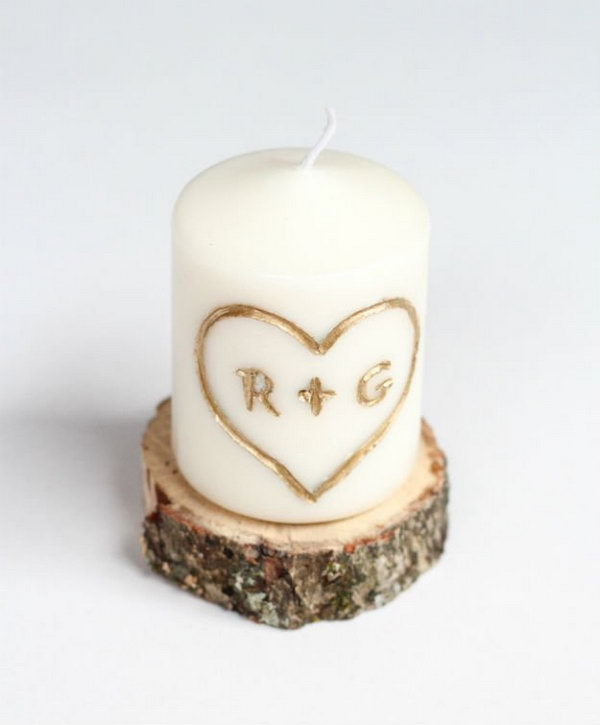 9 DIY Candle Carved with Initial and Heart