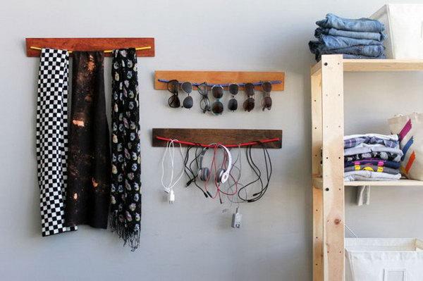 9 DIY Wooden Bungee Organizer