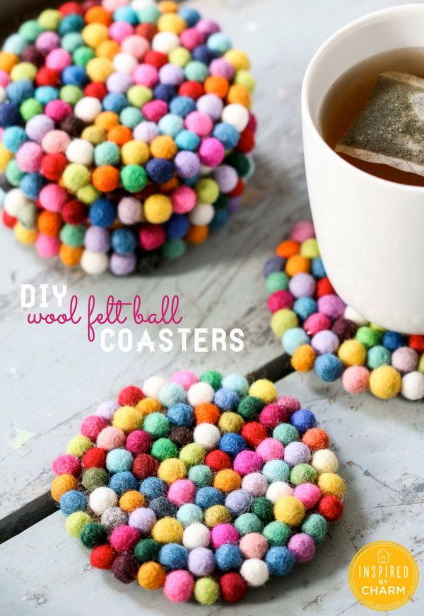 9 Pom-Pom Felt Ball Coasters