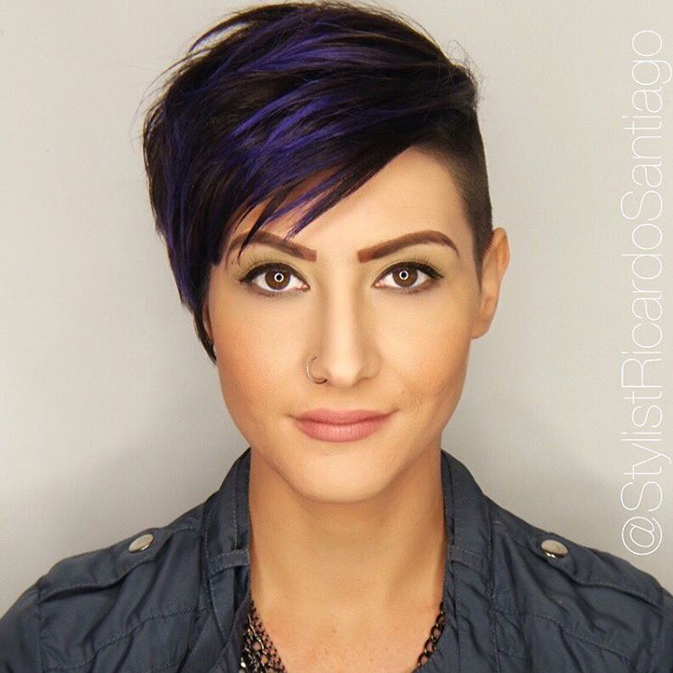 9 brown pixie undercut with blue highlights