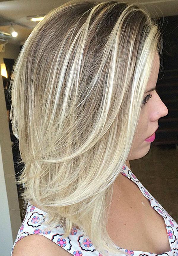 9 mid length layered bronde balayage hair