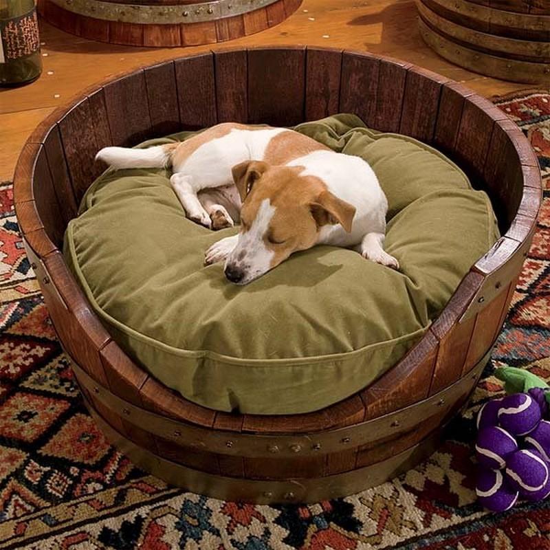 19 Wine Barrel Dog Bed