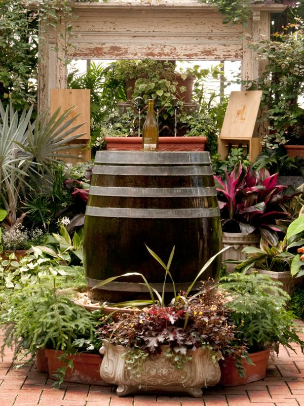 20 Wine Barrel and Bottle Fountain