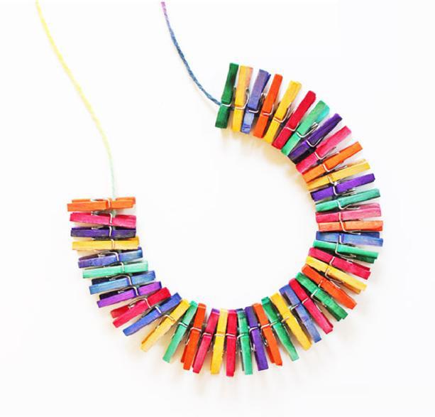 34 Mini Clothespin Necklace