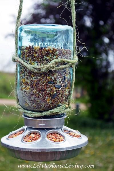 47 Hanging Mason Jar Bird Feeder