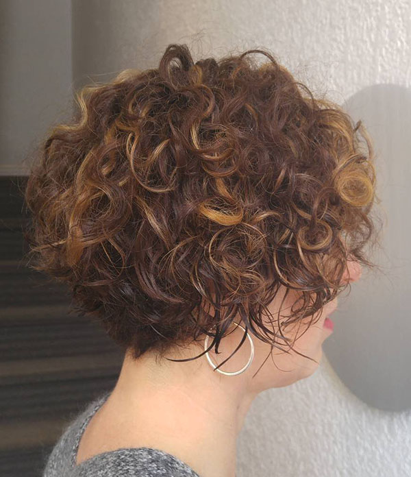 8 short curly brunette bob
