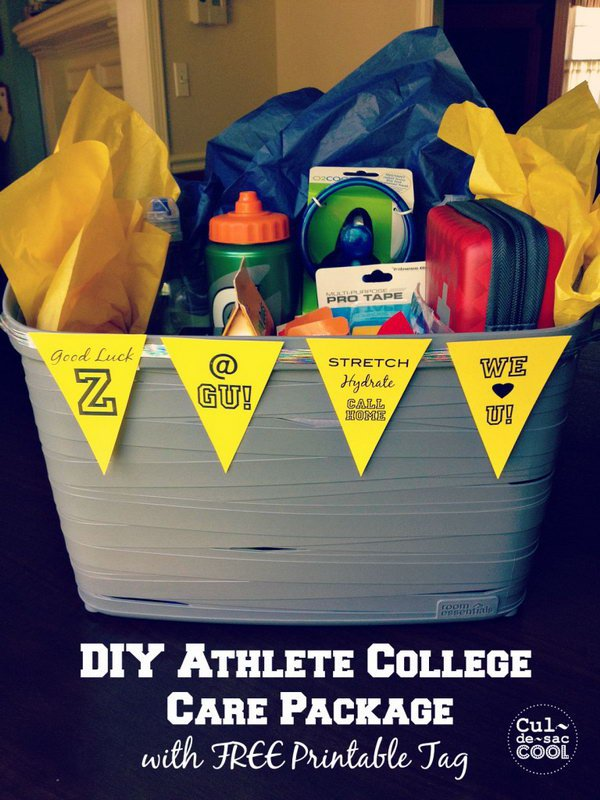 1 DIY Athlete College Care Package With Free Printable Tag