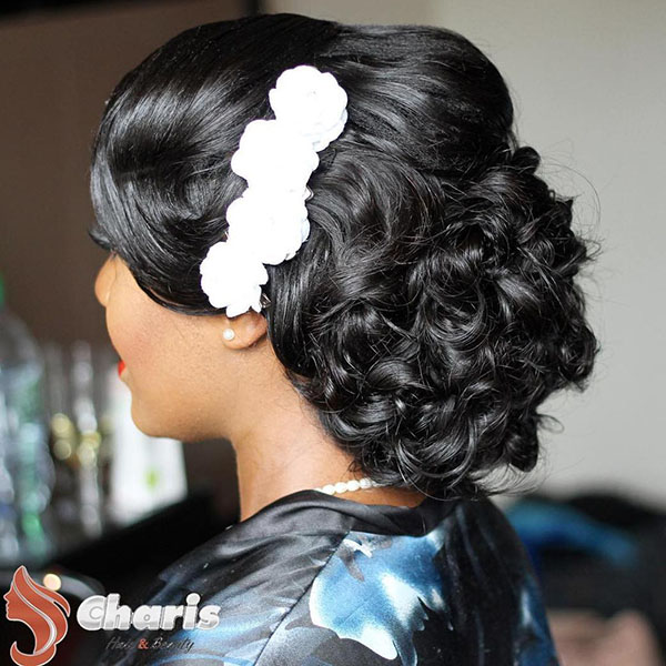 1 black formal curly updo