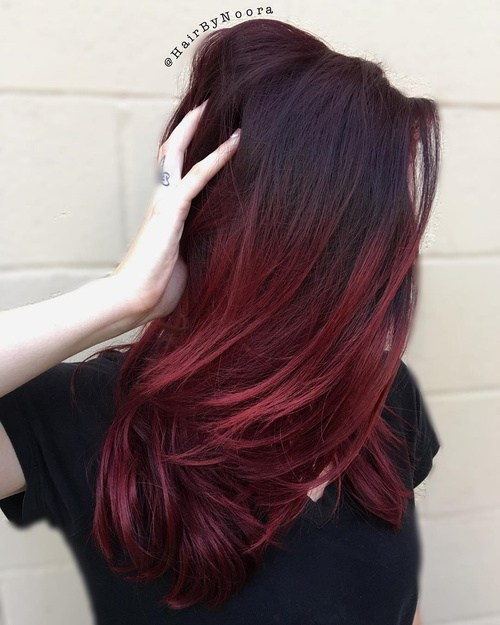1 burgundy ombre hair